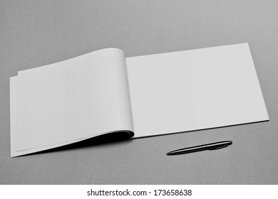 Blank. Booklet isolated on textured background