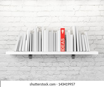 blank books on a shelf and one with idea cover