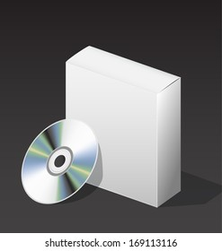 blank box for DVD with a disk