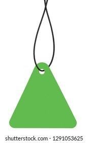 Blank Bright Green Cardboard Sale Tag And String, Empty Price Label Triangle Badge Background, Vertical Hanging Isolated Macro Closeup Copy Space, Large Detailed Light Triangular Label