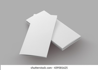 blank brochure paper isolated on grey background, with clipping path