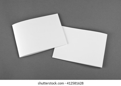 Blank brochures on gray background