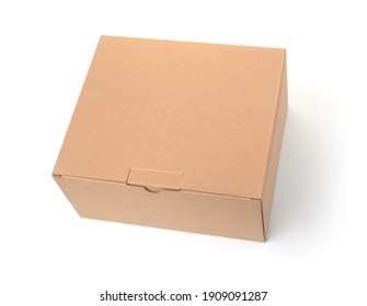 Blank brown cardboard box isolated on white