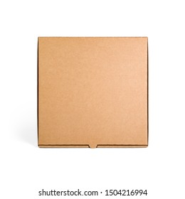 Blank brown cardboard Pizza paper box isolated on white background. Packaging template mockup collection. Stand-up Front view package.