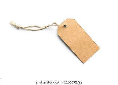 Blank brown cardboard price tag or label isolated white background.