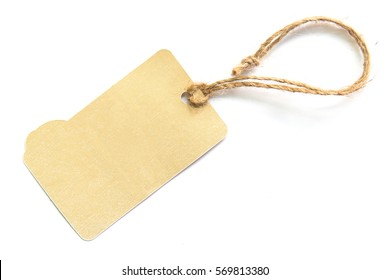 Blank brown cardboard price tag or label on white background