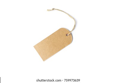 Blank brown cardboard price tag or label with thread white background.