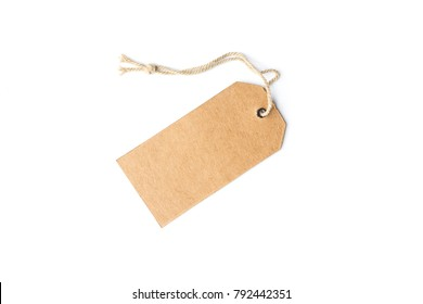 Blank brown cardboard price tag or label with thread isolated white background.price tag