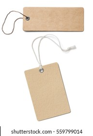 Blank brown cardboard price tags or labels set isolated