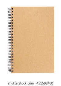 Blank brown cover notebook, isolated white background