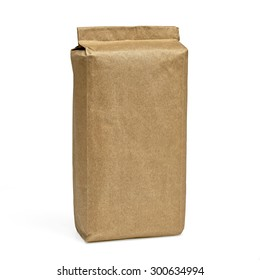 Blank brown craft paper bag isolated on white background including clipping path