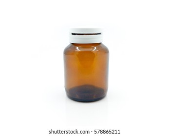 Blank brown glass supplement product bottle on white background