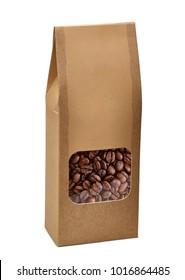 Blank brown kraft paper bag with coffee beans in die cut transparent window on white background including clipping path