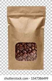 Blank brown kraft paper bag with coffee beans in transparent window on isolated background packaging template mockup collection with clipping path