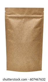 Blank brown kraft paper bag isolated on white background including clipping path