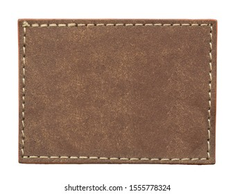 blank brown leather label isolated on white background