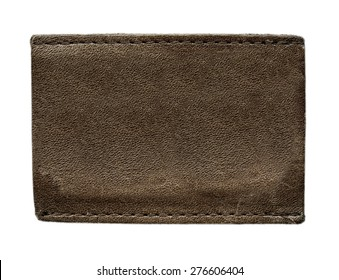 blank brown leather label on isolated on white background