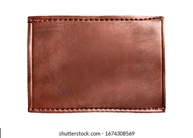 Blank brown leather patch isolated over white
