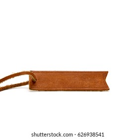Blank brown leather tag labels isolated on white background