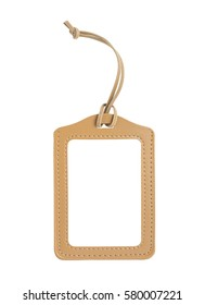 blank brown luggage tag isolated on white, with clipping path