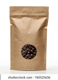 Blank brown paper bag with coffee beans in transparent window on white background including clipping path