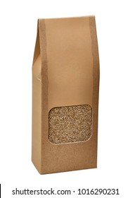 Blank brown paper bag with quinoa beans in transparent window on white background including clipping path