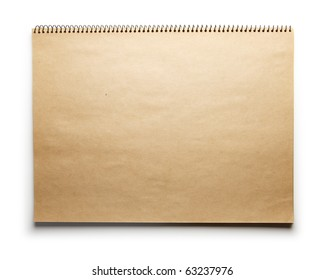 Blank brown paper scrap book isolated on white.