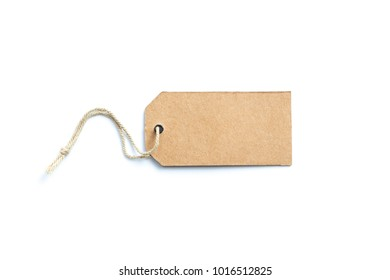 Blank brown price tag  isolated on white background.