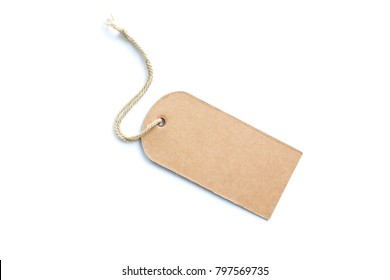 Blank brown price tag solated on white background.