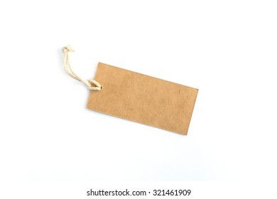 Blank brown tag tied with string isolated on white background