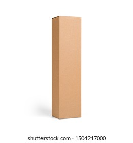 Blank brown tall cardboard Wine paper box isolated on white background. Packaging template mockup collection. Stand-up Half Side view package.