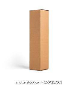 Blank brown tall cardboard Wine paper box isolated on white background. Packaging template mockup collection. Stand-up Half Side view package. - Shutterstock ID 1504217003