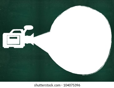 Blank bubble and video on blackboard background