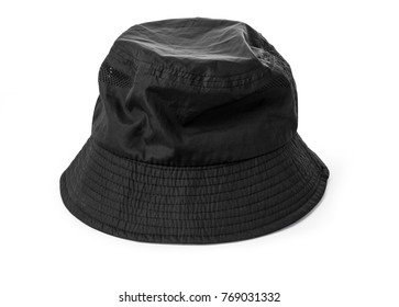 Blank bucket hat color black on white background, with clipping path