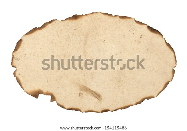 blank burnt paper frame. Isolated on white