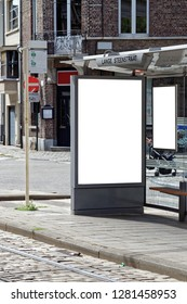 Blank bus stop banner. This is for advertisers to place ad copy samples on a bus shelter.