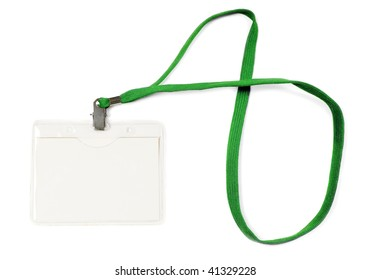 blank business badge with rope isolated on white