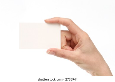 Blank business card. Add your own text. Female hand