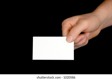 Blank Business Card in Hand  (with clipping path)