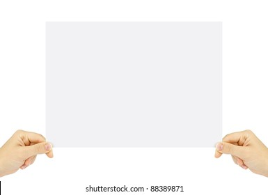Blank business card in hands isolated on white