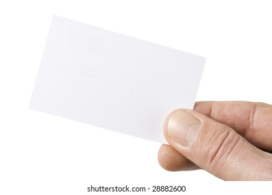 blank business card held between thumb and index finger