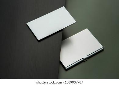 blank business card holder mockup