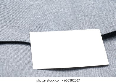 blank business card on the bag
