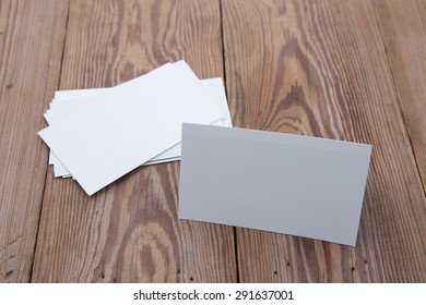 blank business card on wooden table