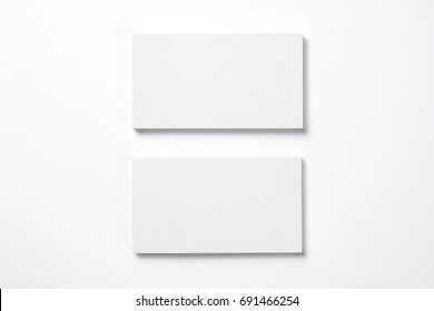 Blank Business Cards isolated on white, studio shot