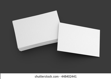 Blank business cards on black background. Include clipping path. 3d render
