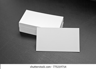 Blank business cards on a black background, identity design, corporate templates, company style