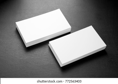 Blank business cards on a grey background, identity design, corporate templates, company style