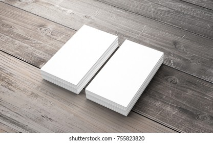 Blank business cards on old wooden desk. Template to showcase your presentation.