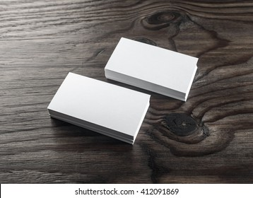 blank business cards on wooden table template for id top view stacks of - Blank Business Cards